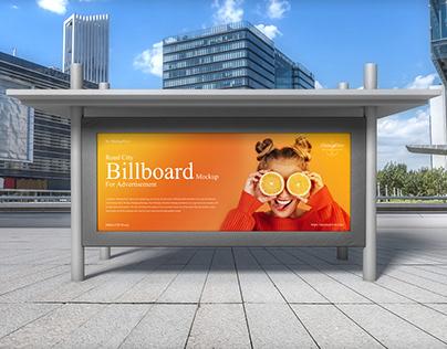 Road City Billboard Mockup For Advertisement Free