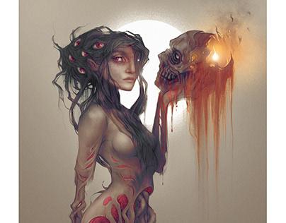 voodoo queen with pumpkinhead