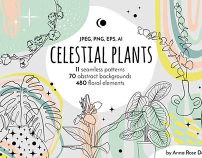 Tropical Potted Indoor Plants Vector Line Art