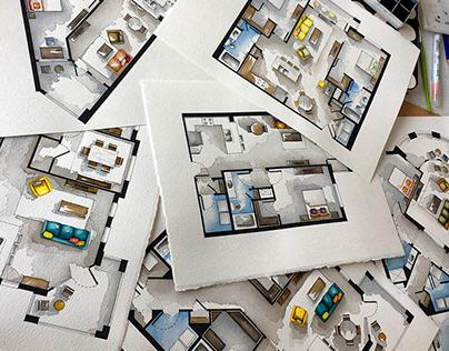Real Estate Watercolor 2D Floor Plans Part 4