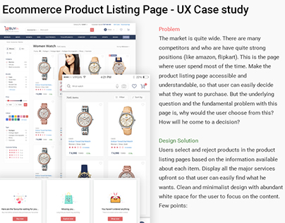 Ecommerce Product Listing Page - UX Case study | UI