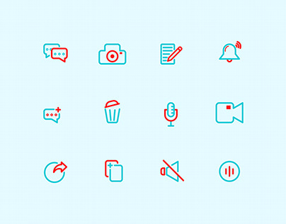 Icon set Media style outline