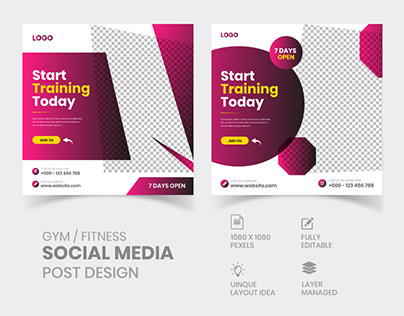Gym / fitness Social Media Post Design