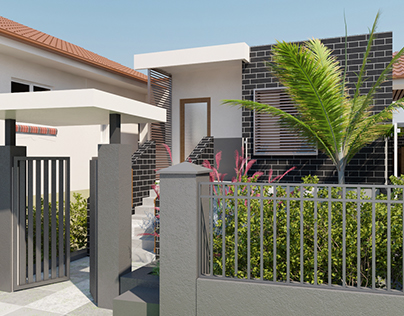 Residential house & Landscape project. 3D Visualization