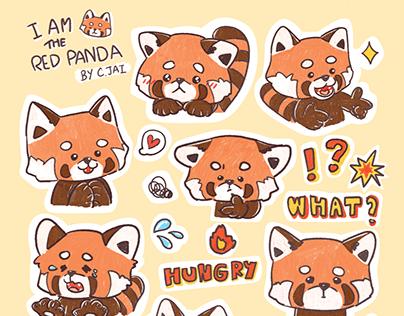 'I am the red panda' Sticker by C.Jai (HoneyBbearr)