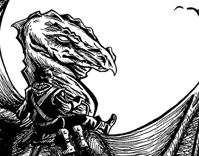 Dragon Riders of Pern- Ink Illustration after Whelan
