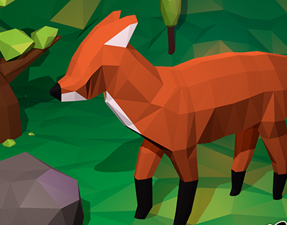 Low poly scene – Fox in the forest
