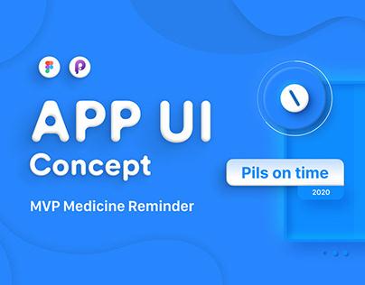 APP UI Medicine Reminder | Pills on Tine | Neomorphism