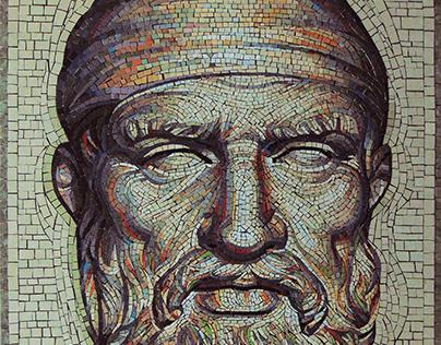 Decebal - the king of Dacia - mosaic