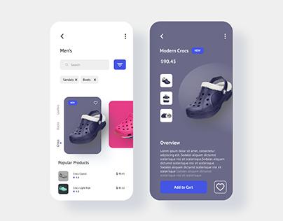 Ecommerce Crocs App Concept