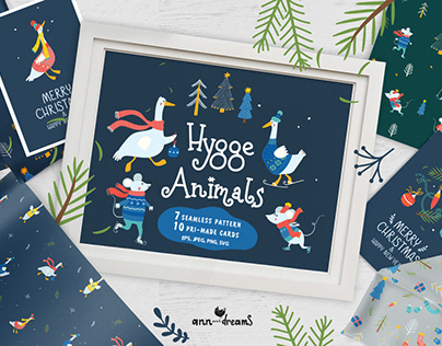 Hygge Animals. Graphic collection
