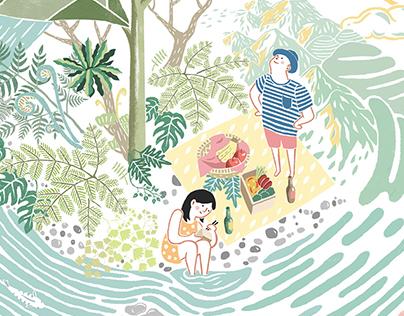 fun慢坪林,自然茶旅 - 系列插畫