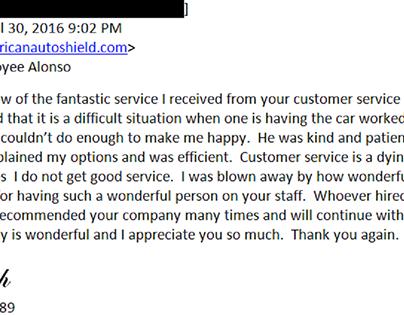 Customer feedback for American Auto Shield