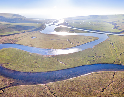 Aerial footage - River Cuckmere / East Sussex