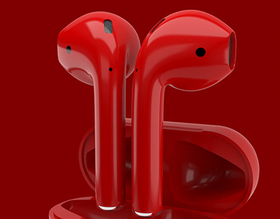 Airpods Red Edition Product 3D Animation / rendering