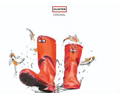 "Hunter Rainboot Ad concept ""Splash Into Adventure"""