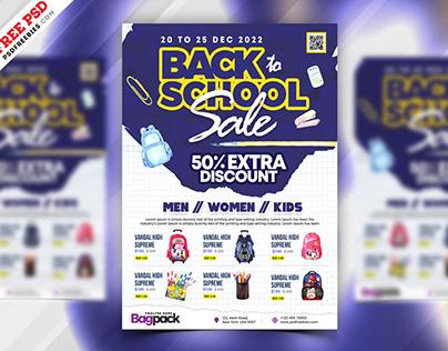 Back to School Sale Flyer PSD