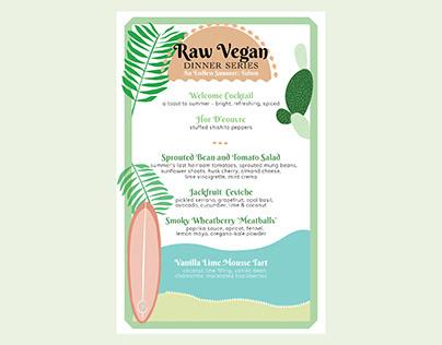 Dinner Series Menu Design - Raw + Vegan