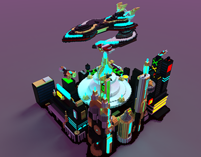 MagicaVoxel- Cyberpunk City In A Distant Planet