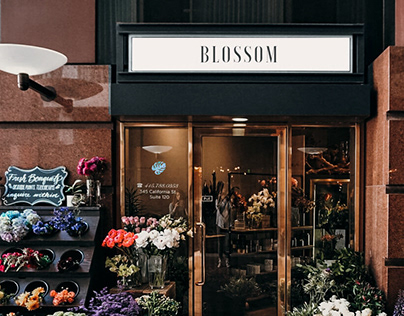 Концепция лого для цветочного магазина Blossom