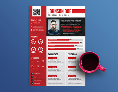 Free Creative Timeline Resume Template on Behance