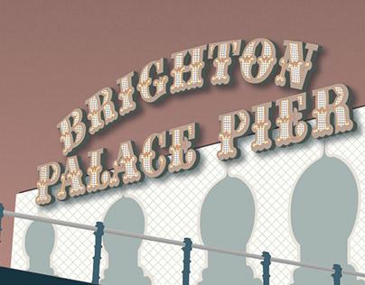 Brighton landmarks travel posters