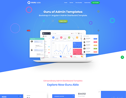 Guru Able Bootstrap 4 + Angular 4 admin templates