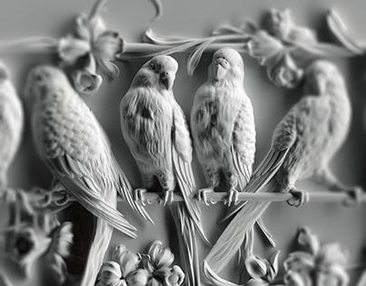 """Гипсовый фриз """"Попугаи"""""""