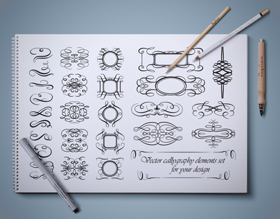 Vector calligraphic design elements set