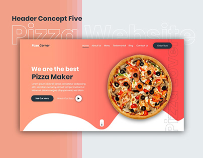 Pizza Website | Header Concept Five