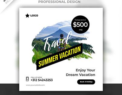 Travel social media post