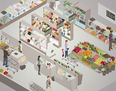 Grocery Store Cutaway Illustration