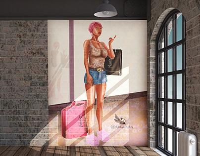 Fashion illustration - surface wall decoration