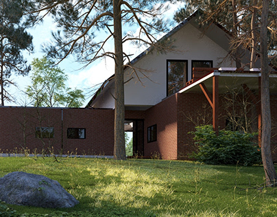 visualizations of a modernist single-family house