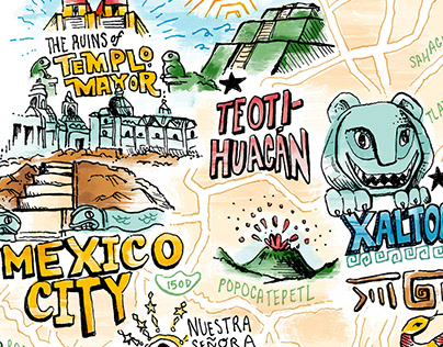 Mexico City's Ruins Map, for Pentagram x USC