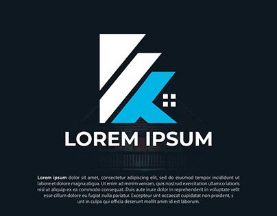 K Letter Real estate investment logo design template
