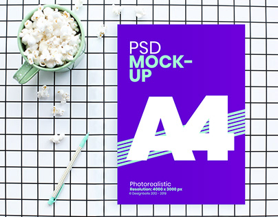 Free A4 Flyer / Movie Poster Mockup PSD