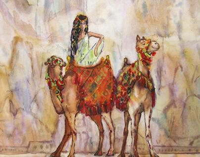 Egypt, watercolor painting. Original work of art