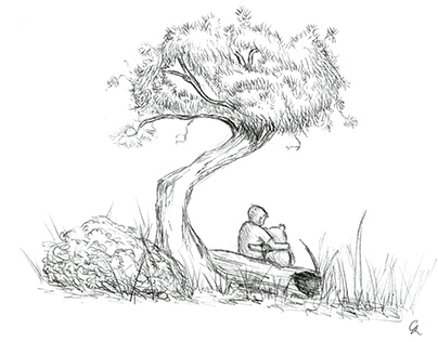 Winnie the Pooh inspired pencil sketch