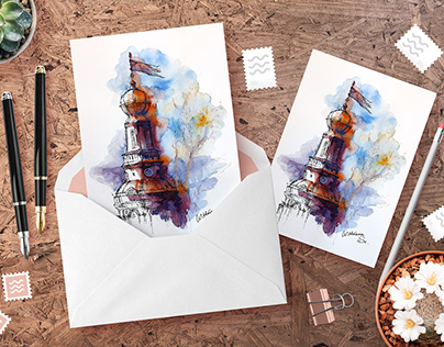 Architecture illustration. Watercolor painting.