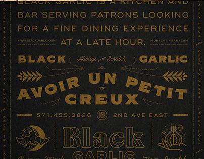 Black Garlic Restaurant Brand Identity
