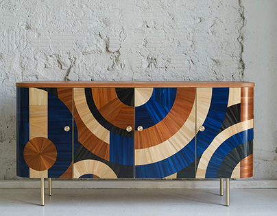Solomia Cabinet in Blue&Terracotta by RUDA