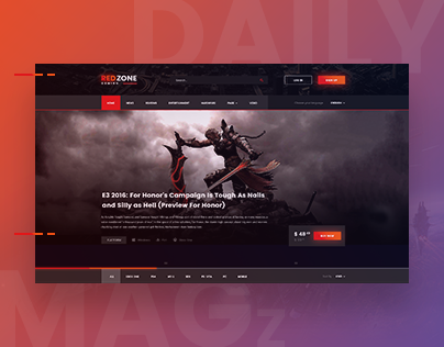 the best gaming news and game portals red zone on behance