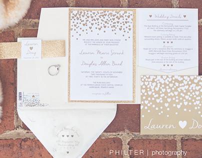 Glitter & Gold Winter Wedding Invitations etc.