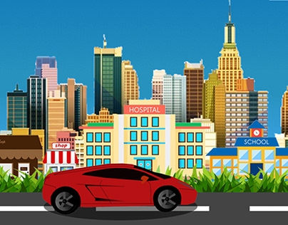 Car Driving in city Motion Graphic