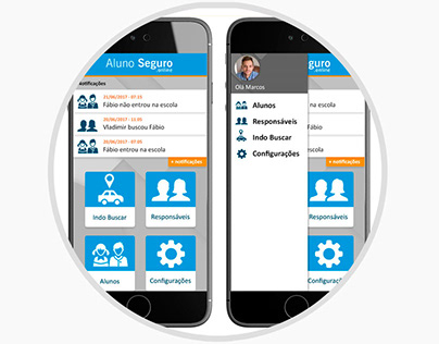 Layouts do aplicativo e sistema do AlunoSeguro.online
