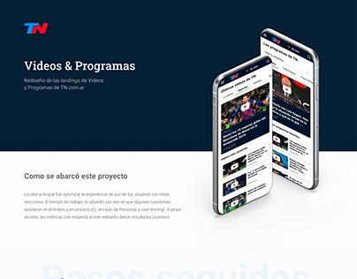 Rediseño de: Programas y Videos de TN.com.ar