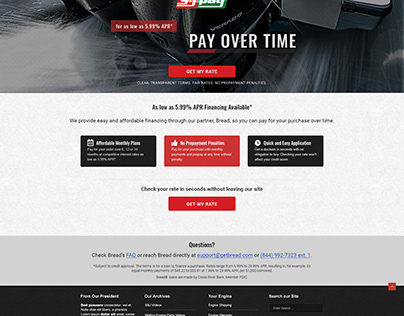 Website Redesign - Financing page.