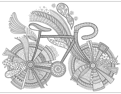 Bike. Coloring book page for adult. Vector.