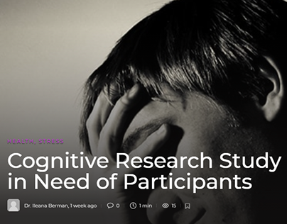 Cognitive Research Study in Need of Participants